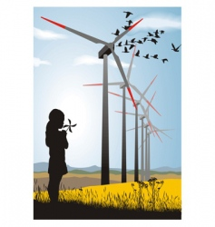 Girl and wind turbine vector