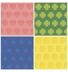 Set of four seamless relief patterns vector