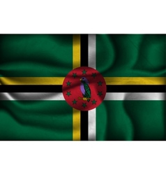 Crumpled flag of dominica on a light background vector