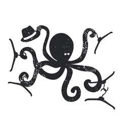 Fashion emblem with octopus vector