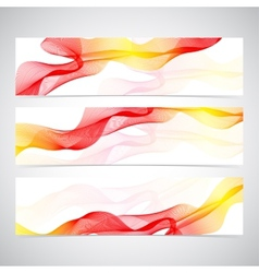 Colorful horizontal set of banners smoky waves vector