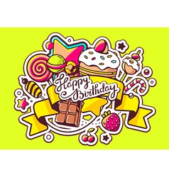 Pile of sweets and ribbon with text happy vector