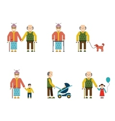 Older people in different situations isolated vector