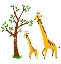 Tree and giraffe vector