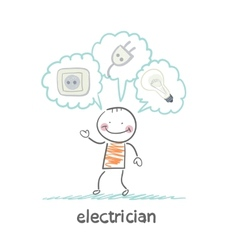 Electrician thinking about sockets plugs and lamp vector