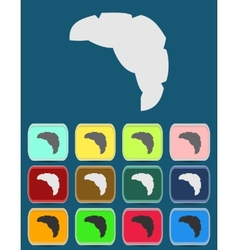 Croissant icon with color variations vector