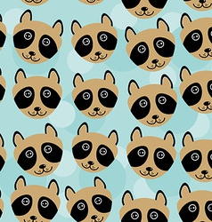 Raccoon seamless pattern with funny cute animal vector