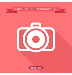 Camera icon logo flat style vector
