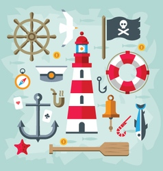 Vintage flat retro nautical elements vector
