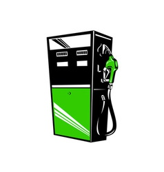 Fuel pump station retro vector
