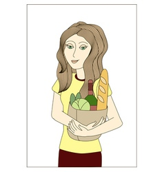 Blonde woman holding paper bag with foodstuffs vector