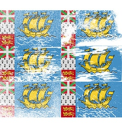 Flag of saint pierre and miquelon france with old vector