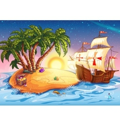 Treasure island with the ship vector