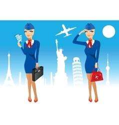 Attractive stewardess holding briefcase vector