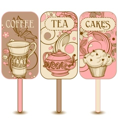 Coffee tea and cakes labels vector