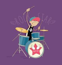 Crazy drummer vector