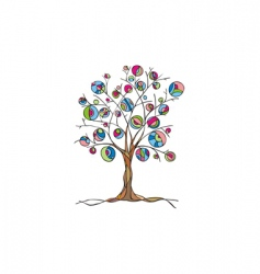 Decorative art tree with fruit vector