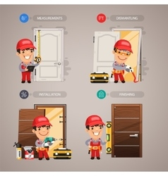 Door installation step by step with handyman vector