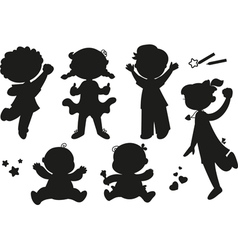 Six silhouettes of happy children vector