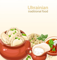 Ukrainian traditional food background vector