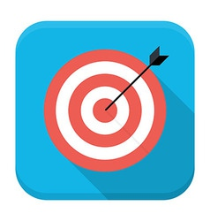 Target with arrow flat app icon with long shadow vector