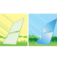 Solar panels in color vector