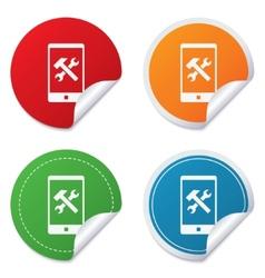 Smartphone repair sign icon service symbol vector