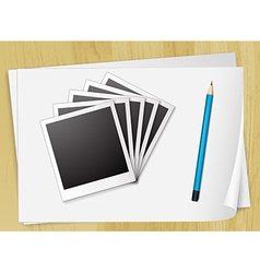 Photo frames and papers vector