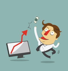 Businessman jump in the air with arrow increase vector