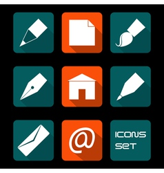 Stationery and art icons vector