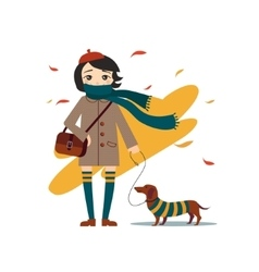 Young pretty girl walking with dog vector
