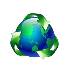 Isolated of a clean green blue planet recycl vector