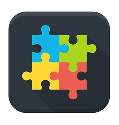 Puzzle flat app icon with long shadow vector