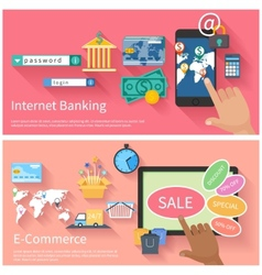 Internet banking and e-commerce concept vector