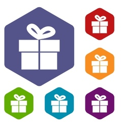 Gift rhombus icons vector