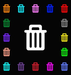 Recycle bin icon sign lots of colorful symbols for vector