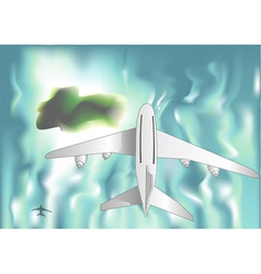 Airplane over the sea vector