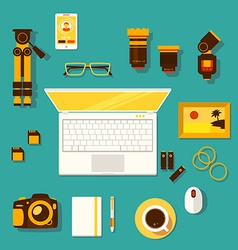 Workplace of photographer vector