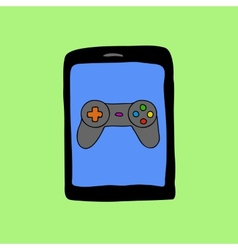 Doodle style tablet pc with gamepad vector