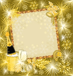 Happy new year in gold merry backgrounds vector