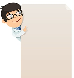 Male doctor looking at blank poster vector