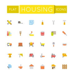 Flat housing icons vector