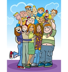 Cartoon teenagers group vector