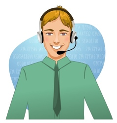 Young man a call operator eps10 vector