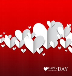 Paper hearts on the red background vector