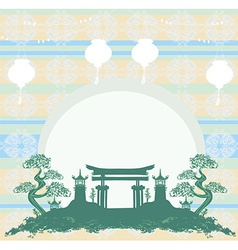 Asian buildings - chinese new year card vector