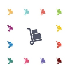 Luggage trolley flat icons set vector