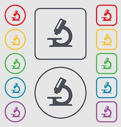 Microscope icon sign symbol on the round and vector