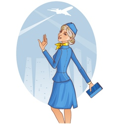 Young cheerful stewardess vector