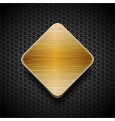 Gold brushed panel on black mesh background vector